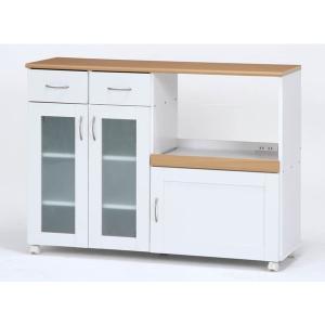 キッチンカウンター 幅120 カウンターテーブル キッチンワゴン キャスター付き 食器棚 レンジ台 ガラス扉 コンセント 北欧 シンプル おしゃれ ホワイト 白 sake-premoa