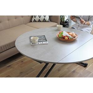昇降テーブル おしゃれ 幅120cm シンプル テーブル コンクリート風 インテリア モダン [時間指定不可] メーカー直送 sake-premoa