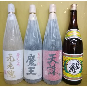 焼酎 白玉醸造 飲み比べ 魔王 元老院 天誅 白玉の露 1800ml 4本セット|sakehonpotauemon