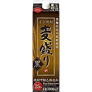 [麦焼酎・甲乙混和]12本まで同梱可 25度 麦盛り 黒 1.8Lパック 1本 合同酒精(1800ml) sakemakino