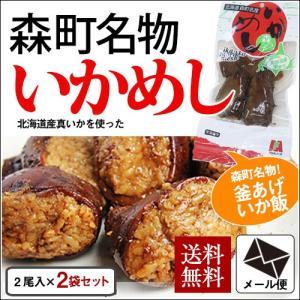 (メール便) いか森っこめし 2袋セット(1袋2尾入り) / 北海道産 いか飯 いかめし|sakenosakana
