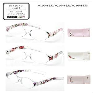 老眼鏡 おしゃれ レディース ハンドメイド手描き絵 リーディンググラス ソフトケース付き tg71 送料無料|sakuazul