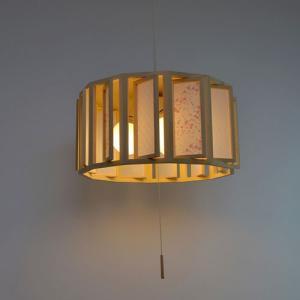 和紙照明 木枠3灯ペンダントライト 花うさぎピンク×小梅白 直径40cm|sakura-cer