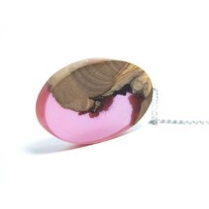 【送料無料】『名入れ』OK!匠の技!天然木レジンの逸品アクセサリー「ネックレス」(色違い製作もOK)|sakura-iro