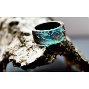 【送料無料】『名入れ』OK!匠の技!天然木レジンの逸品アクセサリー「指輪リング」希望のリングサイズで製作!(色違い製作もOK)|sakura-iro