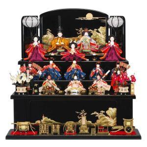 雛人形 15人 五段飾り 庭園 R3-5003 黒塗 sb-3-34