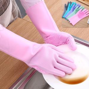 ブラシ付き 耐熱 万能 多機能グローブ。 ブラシが手のひら側に全面についているおり 洗剤の泡立ちがよ...