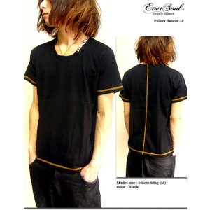 襟ストライプがさりげなくてかなりオシャレ!カラーステッチUネックTシャツ!|sakurafullmoon