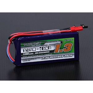 Turnigy ナノテック 1300mAh 2S1P 20~40C リポ受信機バッテリー|sakurahobby