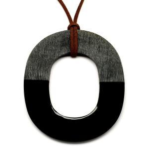 水牛ペンダント オーバル oval マットなGrey&Black バッファローホーン レディス メンズ アクセサリー  [Buffalo Horn]