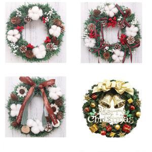 フラワーリース クリスマスリース 花輪 スワッグ 大きい オーナメント ナチュラル ドア 玄関 庭園...