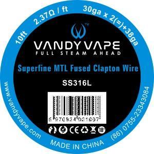 VandyVape Superfine MTL Fused Clapton Wire SS316 30gax2+38ga 10FT ナロークラプトンワイヤー|sakuravapor