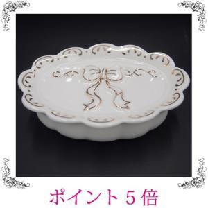 ソープディッシュ ソープトレイ リボン 姫系 レトロ 白 おしゃれ 雑貨|sakuraworks