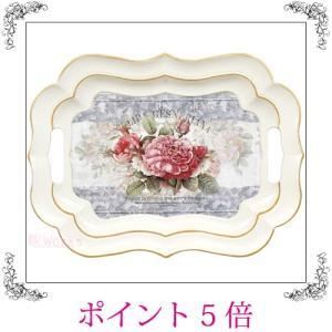 トレイ お盆 トレー フリル ローズ バラ 薔薇 アイボリー 白 レトロ アンティーク調 おしゃれ 雑貨 sakuraworks