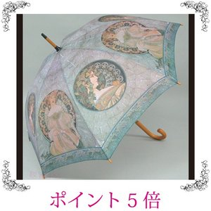 雨傘 長傘 ジャンプ傘 ミュシャ 窓 名画 おしゃれ 雑貨 sakuraworks