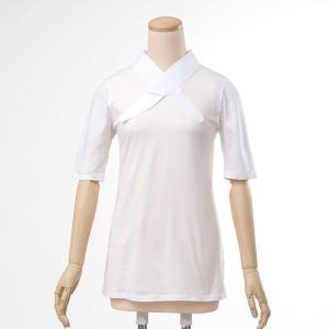 Tシャツ半襦袢 半襦袢 ふぁんじゅ シンプルな 白衿 素早く美しい衿元 本体綿100% M L LL 女性用 白 日本製 ゆうパケット対応|sakusaku-plus