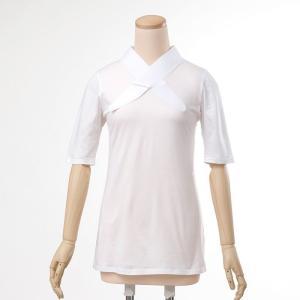 大きいサイズ 3L Tシャツ半襦袢 半襦袢 ふぁんじゅ  シンプルな 白衿 素早く美しい衿元 本体綿100% 女性用 白 日本製    |sakusaku-plus