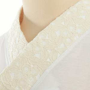 Tシャツ半襦袢 半襦袢 ふぁんじゅ 椿レース 上品なレース衿 簡単に美しい衿元 本体綿100% 女性用 M L LL 白/生成/黒 日本製|sakusaku-plus