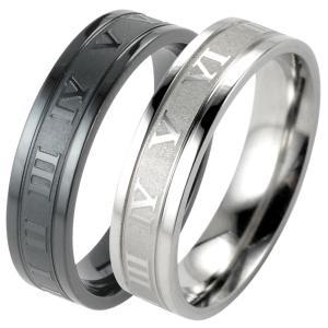指輪 メンズ リング ステンレス ローマ数字 シンプル シルバー ブラック 29号 31号 レディー...