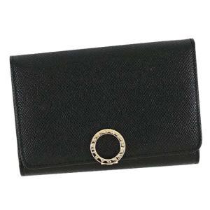 ブルガリのブルガリ・ブルガリラインのブラックの鮮やかなグレインカーフレザー製コンパクト二つ折り財布で...