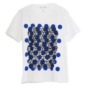 コムデギャルソン Tシャツ メンズ 男性用 ホワイト×ブルー WHITE×PRINT Tシャツ メンズ ロゴ おしゃれ 半袖 オシャレ ブランド スポーツ トレーニング|salada-bowl