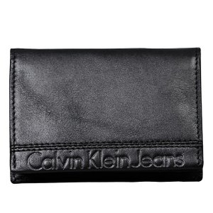 カルバンクラインジーンズ Calvin Klein Jeans カードケース ロゴ型押し レザー ブラック パスケース 名刺入れ メンズ CK 定期入れ 黒 革 ブランド 新品 正規|salada-bowl