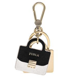 フルラ FURLA キーリング キーホルダー RJ68 994391 VENUS KEYRING BAG メトロポリスバッグ型 キーリング ONYX+PETALO ブラック+ホワイト+ゴールド|salada-bowl
