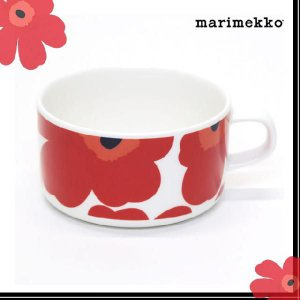 マリメッコ marimekko UNIKKO TEA CUP ウニッコ柄 ティーカップ 250ml ホワイト×レッド 063430 001 ブランド 正規品 北欧 雑貨 食器 コップ 新作|salada-bowl