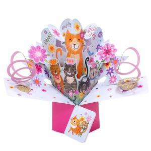 セカンドネイチャー ポップアップカード フラワーキャッツ POP180 誕生日 バースデー 花束 猫 ネコ 3D メッセージカード イベント おしゃれ かわいい 海外|salada-bowl