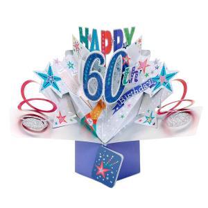 セカンドネイチャー ポップアップカード 60th バースデー シャンパン POP194 結婚式 60歳 還暦祝い 3D メッセージカード イベント|salada-bowl