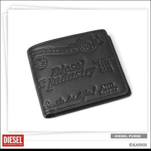 DIESEL(ディーゼル)財布/メンズ/二つ折り/ブランド/革/和柄/ブラック