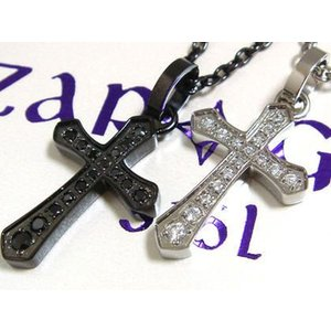 【ZARGON】ペアザルゴンCZクロスステンレスペンダント/ブラック/天然/ダイヤモンド/ファッション/アクセ/ブランド/黒/ステンレス/アクセサリー/クロス ju8 sales