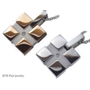 送料無料 EVE イヴペアステンレスダイヤモンドネックレス/ペアピンクゴールドステンレスアクセサリー/プレゼント/ギフト/おすすめ/アクセサリー|sales