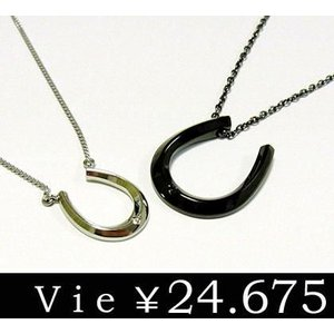 送料無料 vie ペアダイヤモンドステンレスネックレス/ヴィー/ひずめ/馬蹄/ブラック/2個セット sales