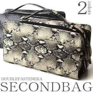 セカンドバッグ メンズ パイソン柄 鞄 バッグ ダブルファスナー レザー 軽量 冠婚葬祭 ビジネス 男性 収納 大容量|salon-de-kobe