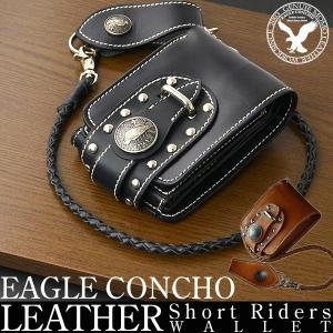 二つ折り財布 メンズ 本革 ブランド 財布 短財布 革 水牛革 バッファロー レザー ウォレットコード イーグルコンチョ salon-de-kobe