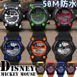ミッキーマウス 腕時計 ミッキー メンズ グッズ ブランド ディズニー ラバー ベルト 50M 防水 レディース キッズ おしゃれ デジタル|salon-de-kobe