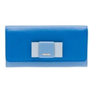 ミュウミュウ リボン付き  二つ折 長財布 5MH109 2EW7 F0LZ7 ブルー|salon-de-miel