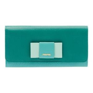 ミュウミュウ リボン付き  二つ折 長財布 5MH109 2EW7 F0LZ6 グリーン|salon-de-miel
