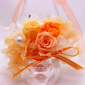プリザーブドフラワー ガラスの靴 オレンジ系ア...の詳細画像1