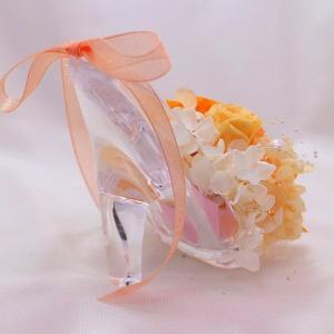 プリザーブドフラワー ガラスの靴 オレンジ系ア...の詳細画像2