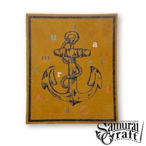 レザーワッペン大 キャメル|samuraicraft