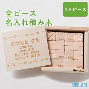 出産祝い 名入れギフト 全ピース名入れ積み木(18ピース)日本製|sanasana|02