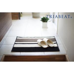 玄関マット/50×70cm/モダン/シンプル/おしゃれ/ブラック/ホワイト/nobleボーダー/TRIABEAT/トリアビート|sanbyoshi-calm