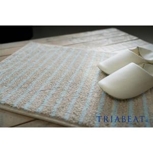 玄関マット/45×65cm/イエロー/ブルー/nobleストライプ/TRIABEAT/トリアビート|sanbyoshi-calm
