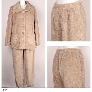 パジャマ レディース ルームウェア モコモコ 部屋着 セットアップ 長袖 冬 モコモコパジャマ もこもこ 上下 ボア ハイネック 袖ゴム 袖絞り 裾ゴム 裾絞り|sancha|11
