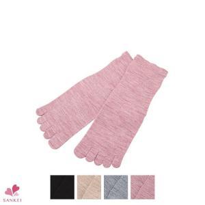 冷え取り靴下 婦人ゴムなし五本指靴下 厚手靴下 冷えとり5本指ソックス (8022)(22-24cm)|sancha