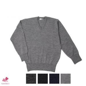 紳士Vセーター(S M L LL)無地 メンズ 黒 ニット 日本製 Vネック|sancha