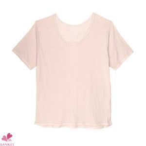 大きな3分袖インナー(3L 4L 5L)日本製 綿100% 半袖 大きいサイズ 肌着 婦人 インナー レディース コットン 無地|sancha