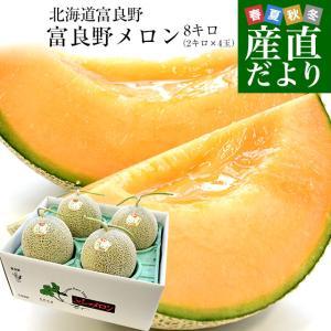 北海道より産地直送 富良野メロン (赤肉) 約8キロ (超大玉2キロ×4玉入り) ふらのめろん レッド 送料無料|sanchokudayori